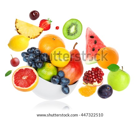 Fresh fruits on white background. Food concept