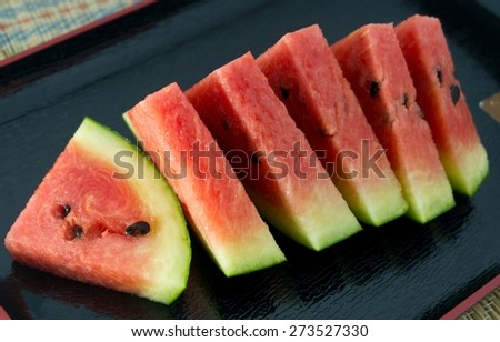 Fresh Fruits, Ripe and Sweet Refreshing Watermelon on A Black Plate. - stock photo