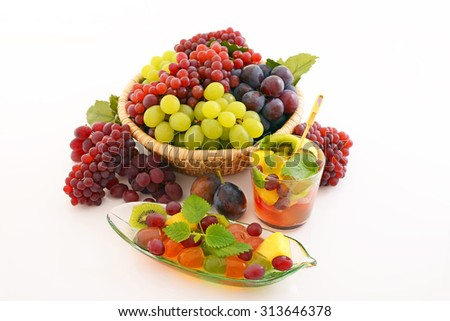 Fresh fruits with fruit punch