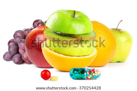 Fresh fruits with vitamins on white background