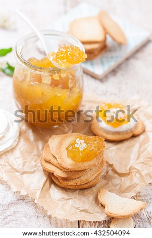 Fresh fruity juicy jam with figs in a jar with crackers and cottage cheese for breakfast, closeup - stock photo