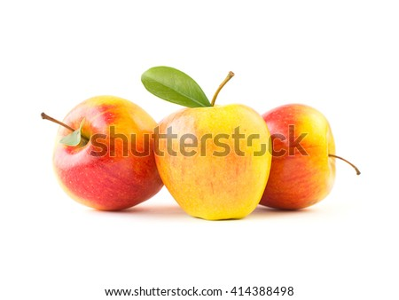 Fresh gala apples with green leaves - stock photo