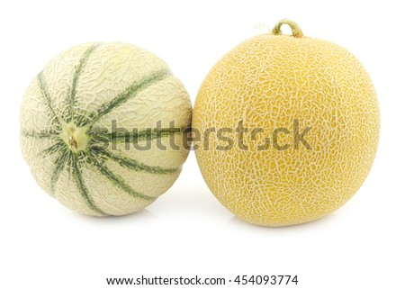 fresh galia melon and a cantaloupe melon on a white background - stock photo