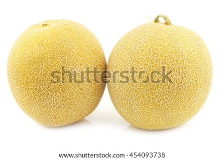 fresh galia melons on a white background - stock photo