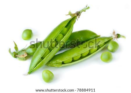 Fresh garden green peas in a pods. - stock photo