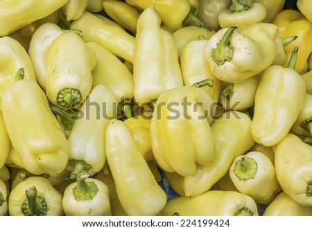 Fresh garden yellow paprika at a farmers' market in Budapest, Hungary - stock photo
