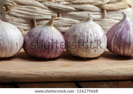 fresh garlic bulbs - stock photo