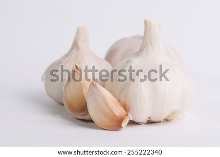 Fresh garlic isolated on white background - stock photo