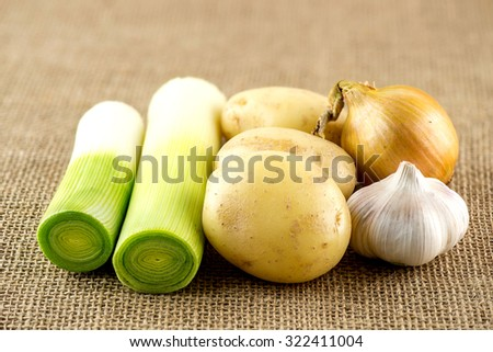 Fresh garlic, potato, leek and onion on burlap sack - stock photo