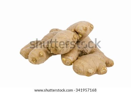 fresh ginger isolated white background - stock photo