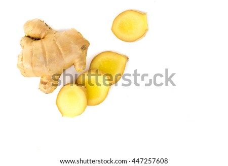 Fresh ginger on white background,raw material for cooking - stock photo