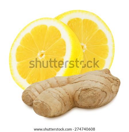 Fresh ginger root and lemon slices isolated on white background - stock photo