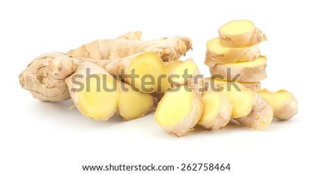 Fresh ginger root isolated on white background - stock photo
