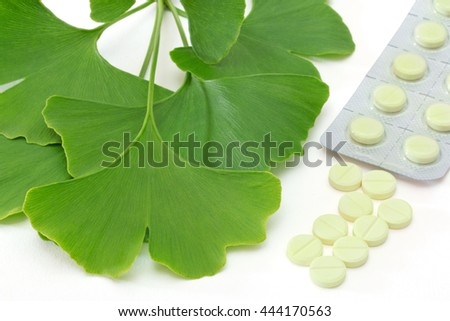 Fresh ginkgo leaves with pills and blister pack
