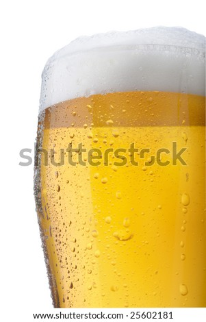 Fresh glass of beer with froth and condensed water pearls isolated on white background - stock photo