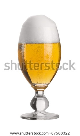 fresh glass of cold beer with froth and condensed water pearls; cut out with clipping path