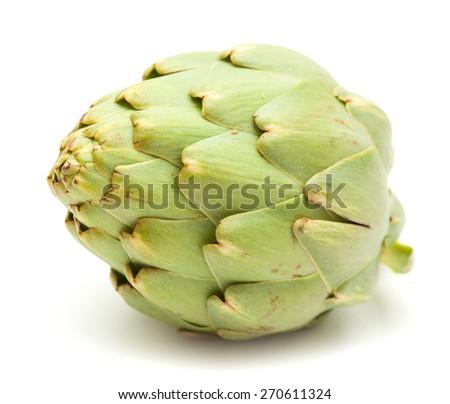fresh globe artichoke isolated on white background - stock photo