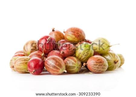 fresh gooseberry isolated on white background - stock photo