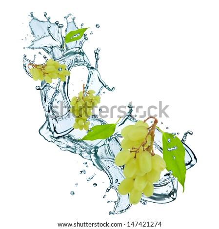 fresh grape and leaf in water splash - stock photo
