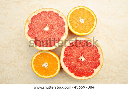 Fresh grapefruit and orange . Vitamins for health.