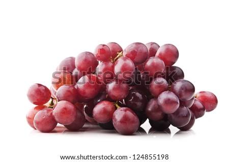 fresh grapes isolated on white background - stock photo