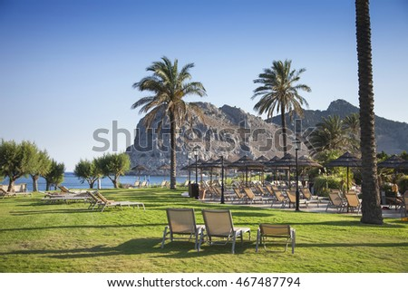 Fresh grass, beach chairs and palm trees.