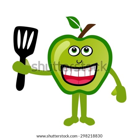 fresh green apple and cooking - stock photo