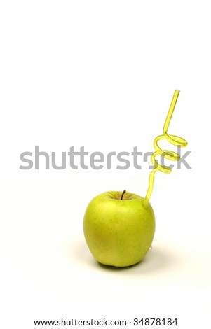 fresh green apple drink with straw on a white background