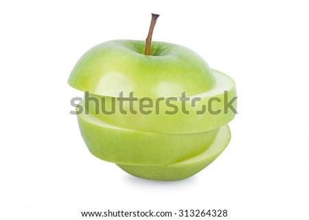 Fresh green apple, isolated on white background - stock photo