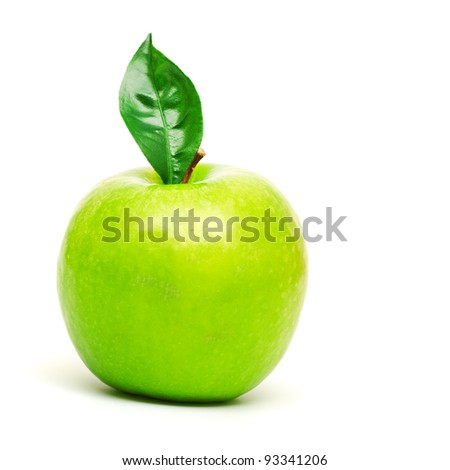 fresh green apple with green leaf isolated on white - stock photo