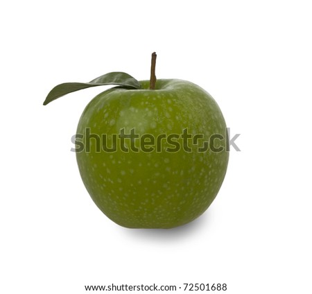 fresh green apple with leaf isolated against a white background