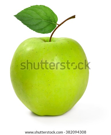 Fresh green apple with leaf, isolated on white background. Granny Smith Apple. - stock photo