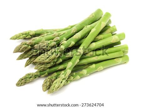 Fresh green asparagus on white - stock photo