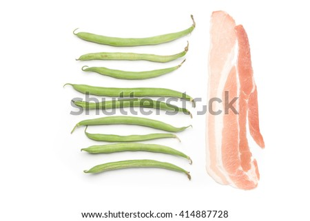 Fresh green beans and raw bacon, isolated on white background - stock photo