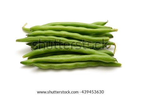 Fresh green beans isolated on a white background - stock photo
