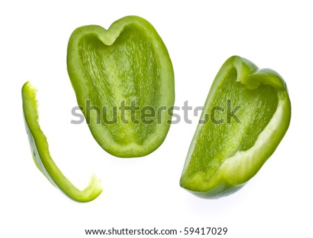 Fresh Green Bell Pepper Slices Isolated on White with a Clipping Path. - stock photo