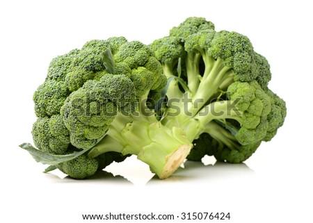 fresh green broccoli isolated on white background - stock photo