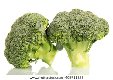 Fresh green broccoli isolated on white background.