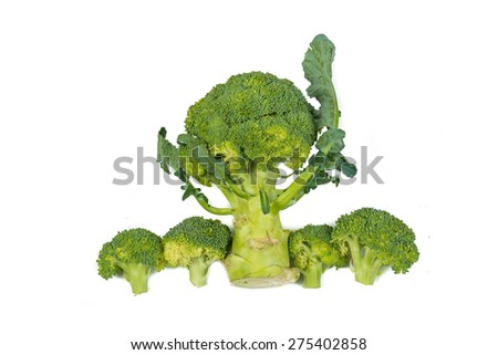 Fresh green broccoli vegetable isolated on white background, Healthy Nutritious - stock photo