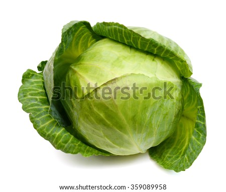 fresh green cabbage isolated on white  - stock photo