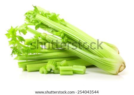 Fresh green celery isolated on white - stock photo
