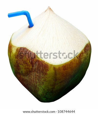 Fresh Green Coconut Fruit Drink - stock photo