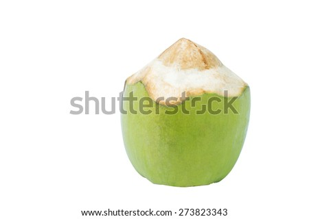 Fresh green coconut ready to open isolated on white background