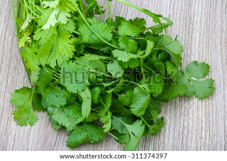 Fresh green Coriander leaves heap on the wood background