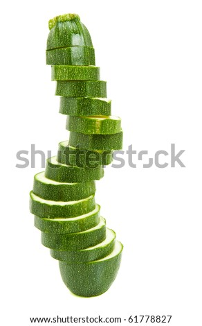 fresh green courgette on white background