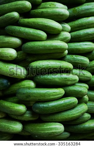 fresh green cucumber, food pattern background