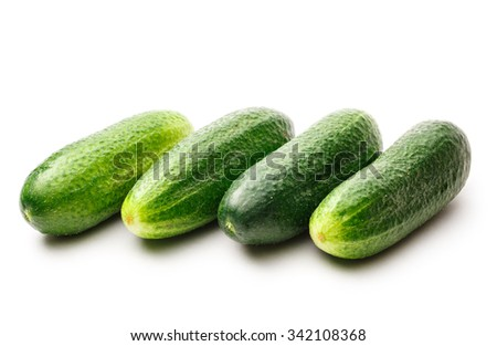 Fresh green cucumbers on the white background - stock photo