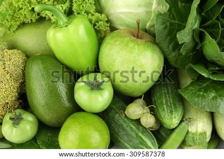 Fresh green food, closeup - stock photo