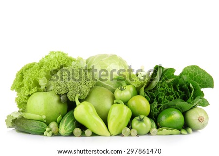 Fresh green food isolated on white - stock photo