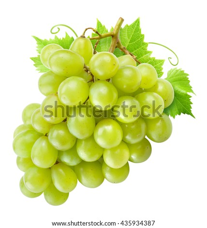 Fresh green grapes with leaves. Isolated on white. Clipping path.